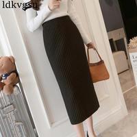 2019 New Fashion Large Size Skirts Women's Autumn Winter Elastic Knit Bag Hip Split Step Skirts For Women V267