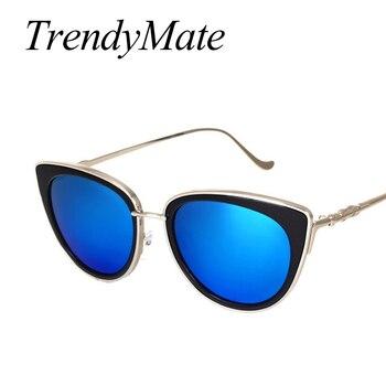 TrendyMate Retro Sexy Cat Eye Women Sunglasses Female Metal Frame Sunglasses Brand Designer Alloy Legs Glasses Oculos De Sol 711 4