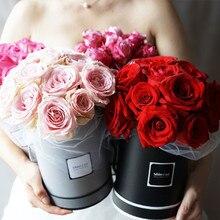 Высокая класс корейский однотонная одежда Круглый Цветок бумага коробки с крышкой Hug ведро флорист подарочная упаковка коробка 13*13*18 см 1 шт