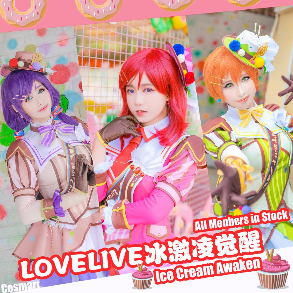 [Stock]Collection!Anime Lovelive!Ice cream Awaken All Members SJ Uniform Dress Halloween Carnival Cosplay costume +Hat
