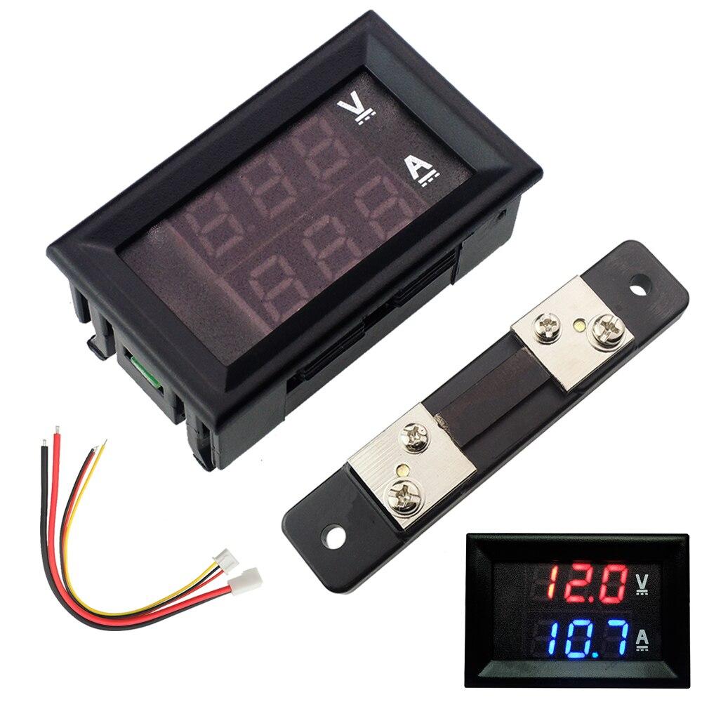 DC100V 50A Dual Digital Blue Red LED Display Current Voltmeter Ammeter Multimeter Panel Tester Volt Meter Gauge Monitor Shunt ...