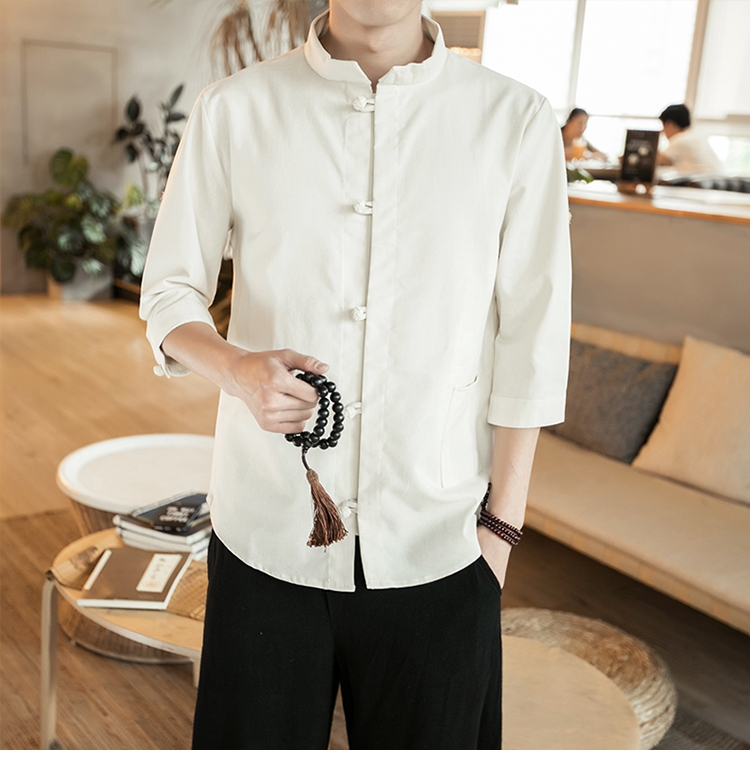 Cotton Linen Half Length Sleeve Shirts Men Kimono Traditional Harajuku Shirts Male Three Quarter Sleeve Shirt CD50