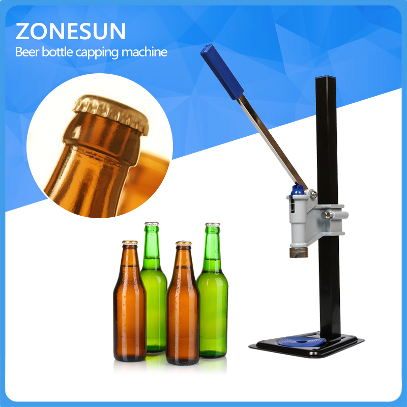 ФОТО ZONESUN  Beer Bottle Capping Machine Manual Beer Lid Sealing Capper Beer Capper Soft Drink Capping Machine Soda Water Capper