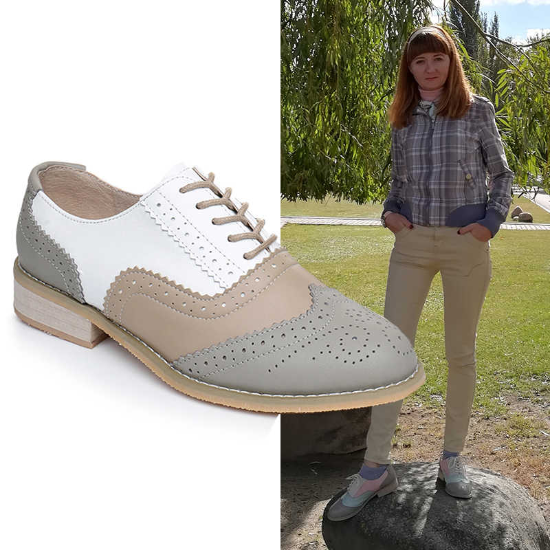 Women oxford Spring shoes genuine leather loafers for woman gray sneakers female oxfords ladies single shoes 2019 summer shoes