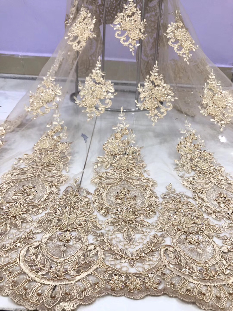 4 colors 5yards pc top quality French net lace fabric with detailed embroidery and lots of