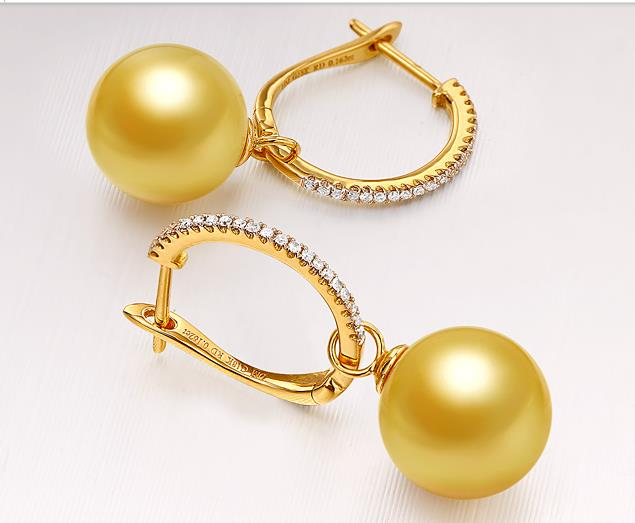 gorgeous AAA10-11mm round south sea gold pearl dangle earring 18/k