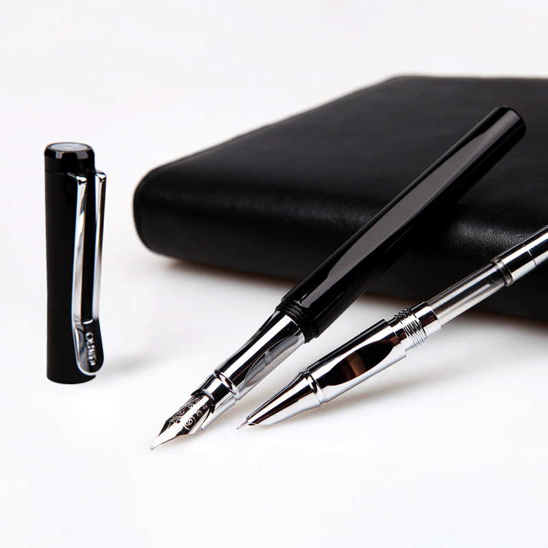 OASO A15 Luxury Black and Silver Clip Double Nib Fountain Pen Set with Original Gift Case 0.38mm 0.5mm Pens for Writing roller ball pen jinhao 189 noblest ancient silver medium 0 7mm nib great wall pen