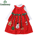 Girls Christmas Dress Set Long Sleeve Blouse Xmas Tree Dress for Baby Girls Santa Claus Snowman Children Party New Year Gift
