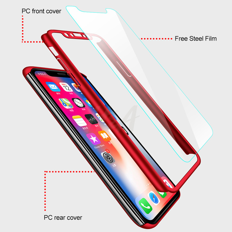 Image 2 - H&A Luxury 360 Full Cover Case For iPhone X XS MAX XR Protective Case For iPhone XR XS MAX X Plastics Phone Case Tempered Glass-in Fitted Cases from Cellphones & Telecommunications