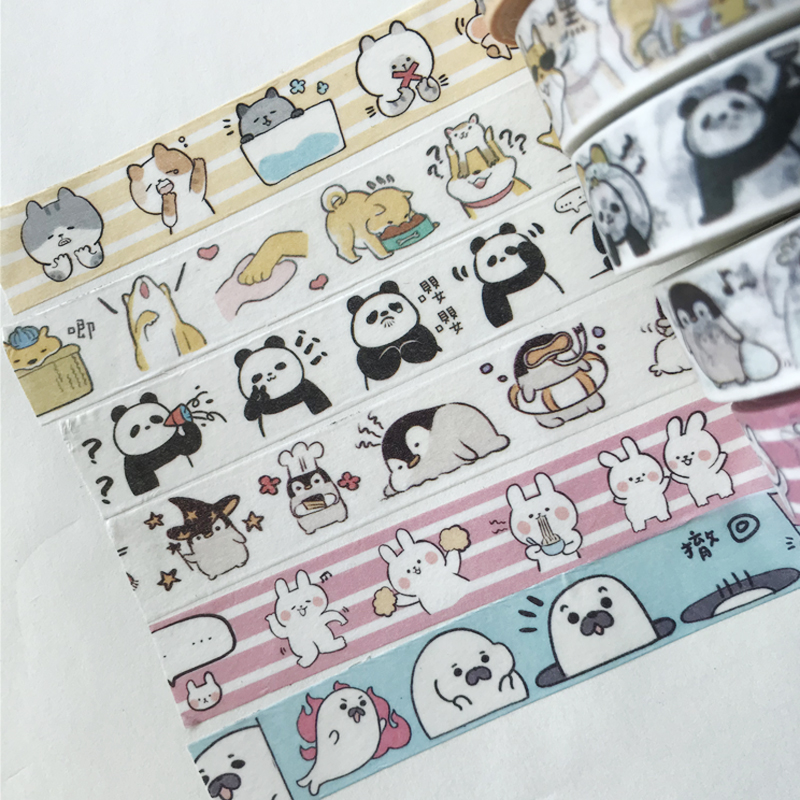 1.5cm*7m Cute Otter Puppy Penguin Panda Washi Masking Tape DIY Craft