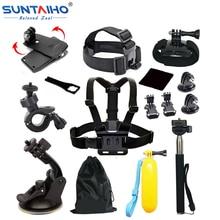 GoPro accesorios 13 en 1 Unidades Kit Familia Go Pro SJ4000 SJ5000 SJ6000 paquete de accesorios para gopro hd hero 1 2 3 3 + 4 xiaomi yi
