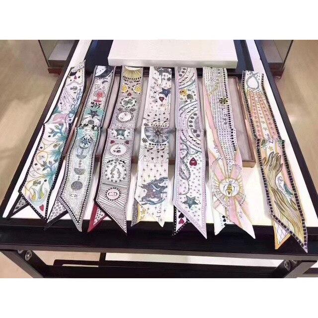 Таро серии двухслойные двусторонняя печать саржа маленькая связывающая сумка ручка имитировать шелк шарф лента для волос женские шарфы хиджаб