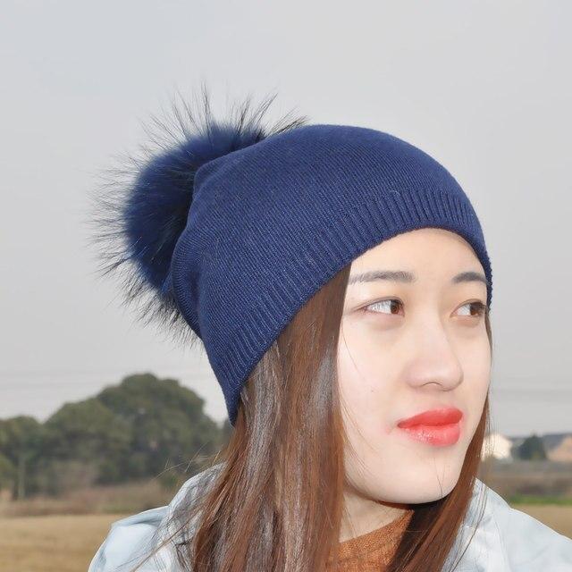 Mistura De lã de Algodão Pele Ponpon Chapéu Feito Malha Fêmea de Pele do  Inverno Mink 5b3bf7addb4