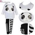 2 PCS Do Bebê Dos Miúdos Meninas Panda Topos Casaco Listrado Calças Outfits Clothes Set 4-7A