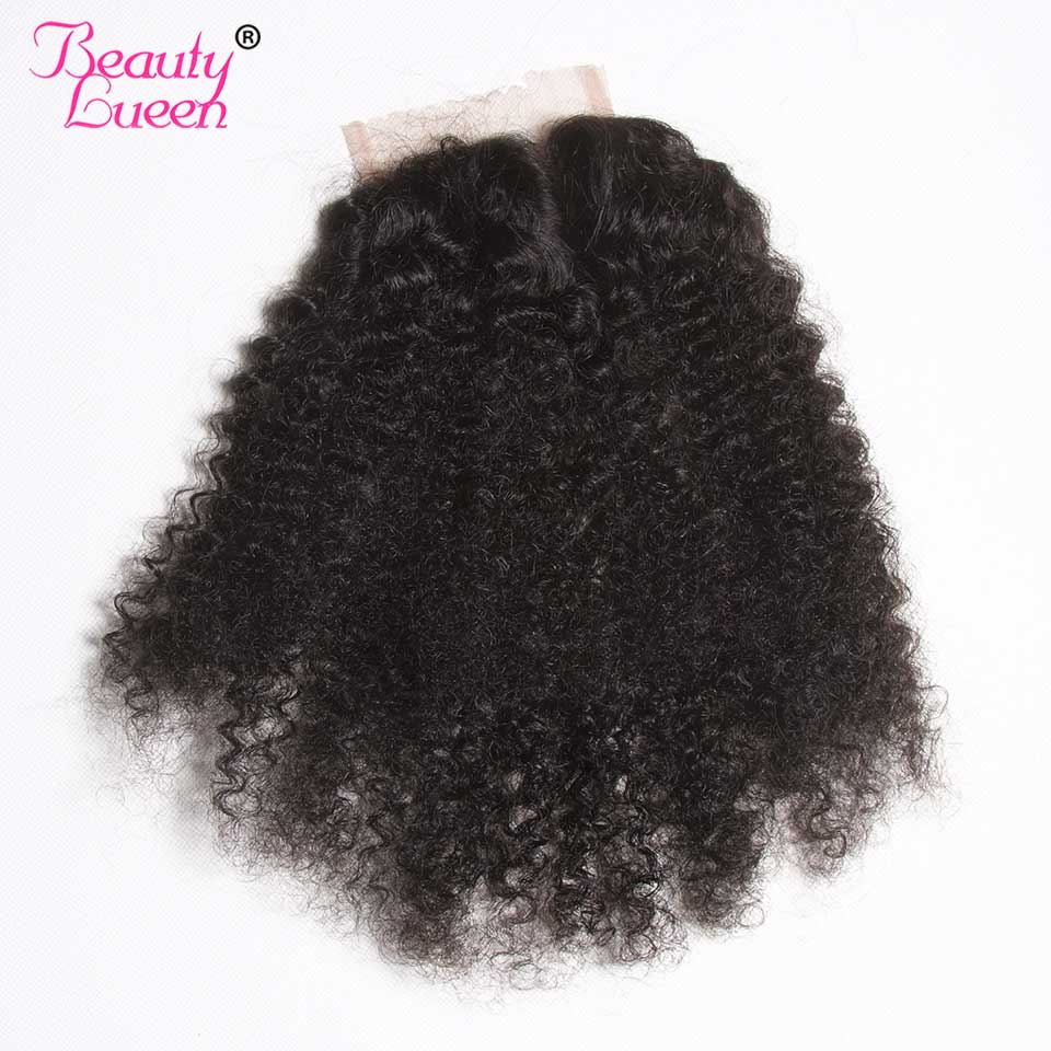 Brazilian Afro Kinky Curly Hair Lace Closure 4 4 Free Middle Part 100 Human Hair Extensions