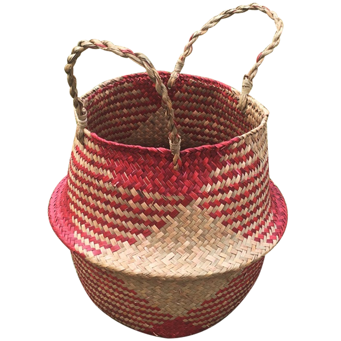 Basket Straw Woven Storage Garden Flower Wicker Bag Pot Planter Seagrass Belly