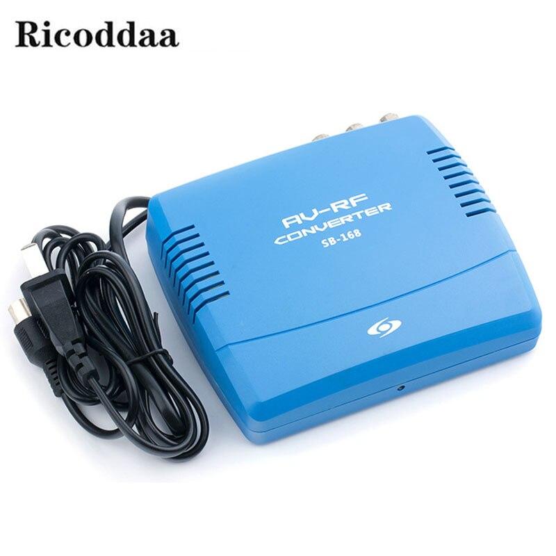 Conversor de sinal de vídeo áudio padrão do sinal da tevê do sistema de televisão do conversor do modulador do rf av à tevê 220 v ue/eua plug