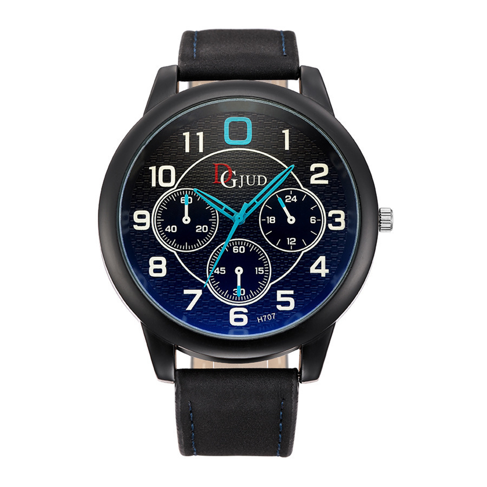 Stylish Faux Leather Big Dial Blue Ray Glass Quartz Analog Wrist Watch Men Gift