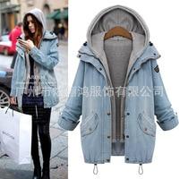 Women's Zip Up Blue Denim Coat Jacket with Hoodie Maternity Coat pregnancy Clothes Winter Wear 423