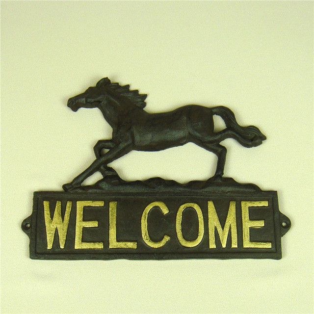 Cast Iron Horse Figurine Welcome Plaque Decorative Metal Mustang ...