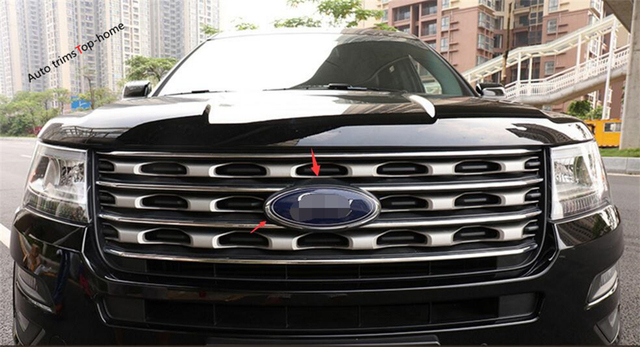 Accessories For Ford Explorer 2016 2017 2018 Abs Chrome Front Head Middle Grill Emblem Cover Exterior