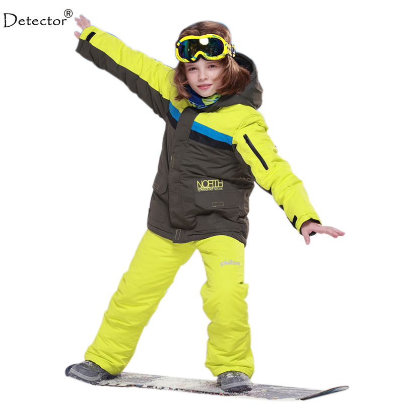 цены 2016 New FREE SHIPPING kids boys winter clothing set skiing jacket+pant snow suit -20-30 DEGREE boys ski suit size134-164