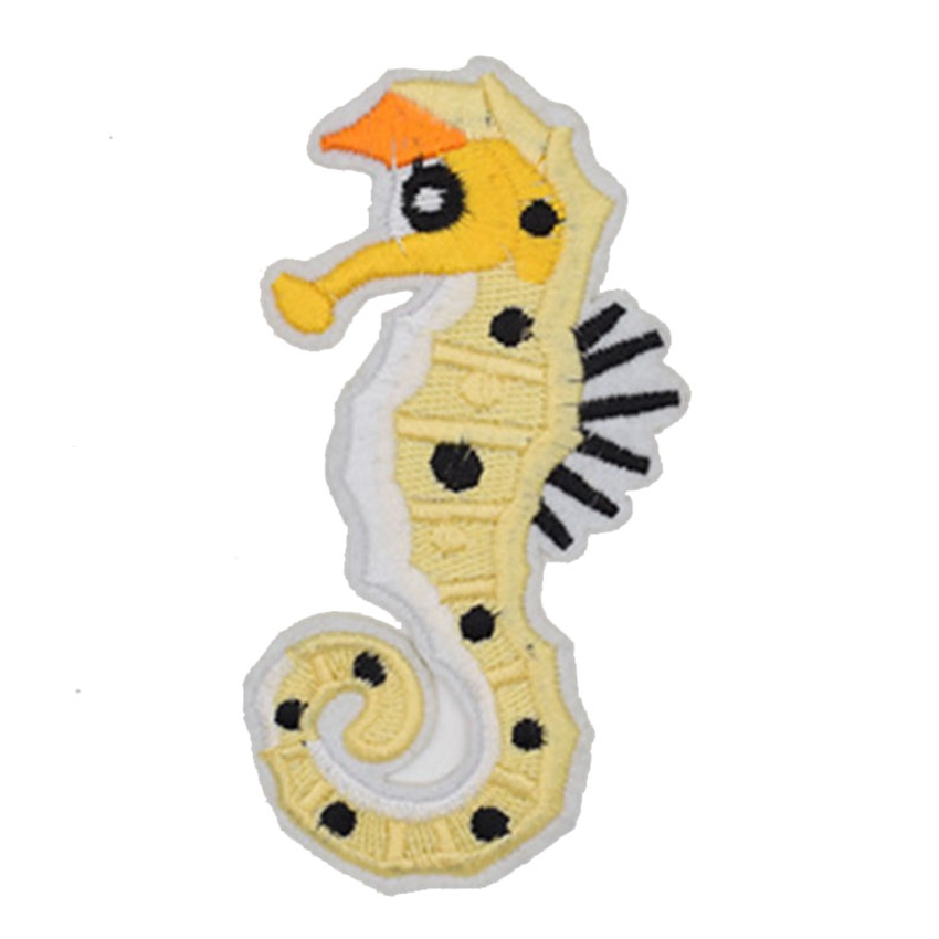Seahorse Patch Embroidered Iron Sew On Clothes Horse Pony Fish Badge Applique