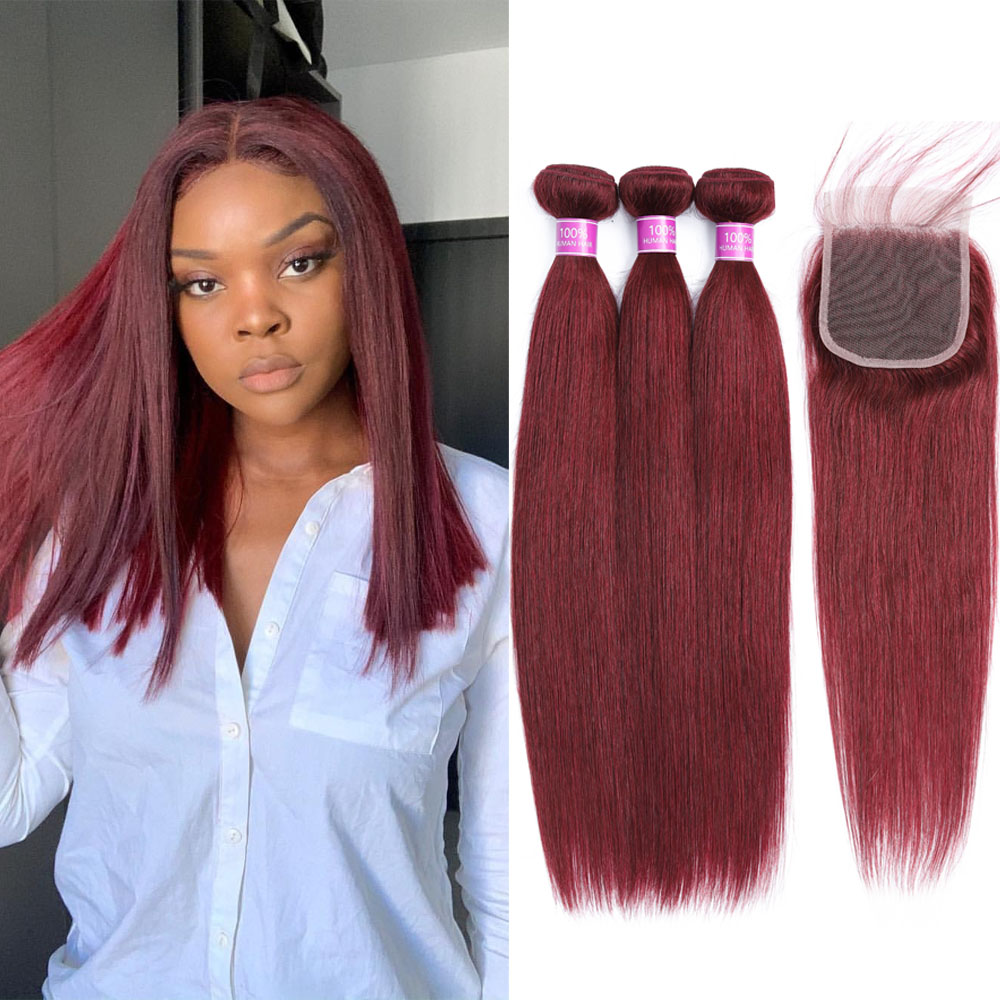 Red Bundles With Closure Brazilian Straight Hair 99J Red Wine Hair Weave 100 Human Hair Burgundy