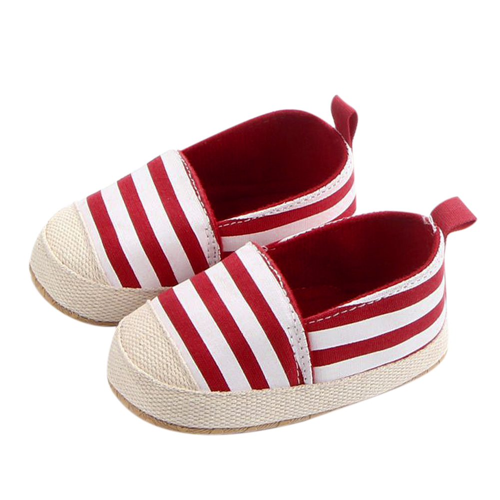 Blue Striped Baby Boy Shoes Lovely Infant First Walkers Good Soft Sole Toddler Baby Shoes Baby Girl Boy Shoes Classic Canvas