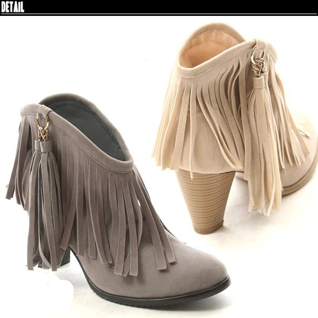 Fashion tassel boots fashion tassel two ways high-heeled ankle boots casual boots pink
