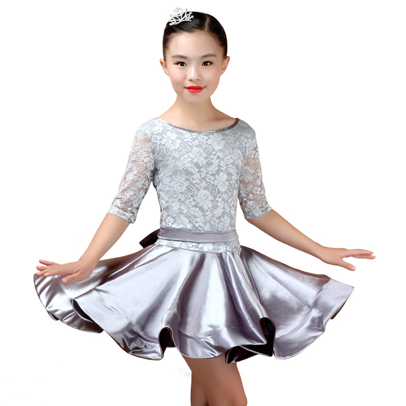 New Girl Latin Dance Dress Girls Ballroom Skirt Dress Girls Satin Bright Satin Fabric Dance Skirt Costume Competition Dancewear