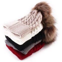 Кремовая вязанная шапка для мальчика, зимняя шапка с помпоном из меха енота, Детская шерстяная шапка