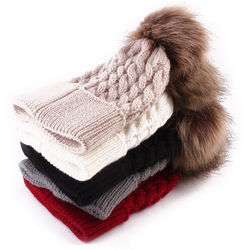 Кремовая зимняя вязаная шапка для маленьких мальчиков и девочек с помпоном из меха енота, Детская шерстяная шапка
