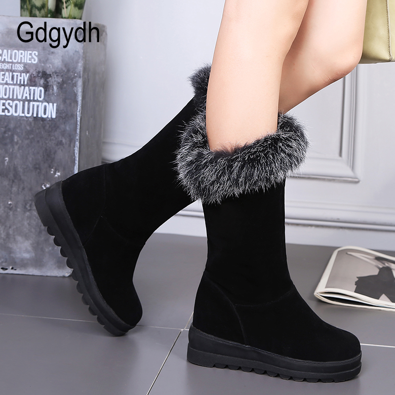 Gdgydh Wholesale Woman Winter Shoes Wedges Female Rubber Sole Shoe Good Quality  Fur Warm Snow Boots Large Size 43 Free Shipping