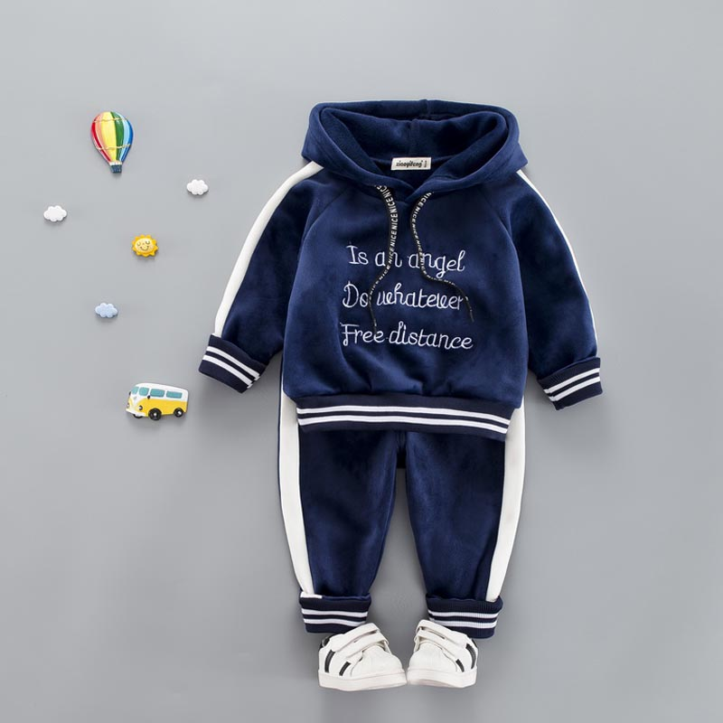 Baby Girl Boys Clothes Set For Toddler Kids Casual Sports Letter Hooded Velvet Autumn Spring Suits Clothing 1 2 3 4 Years free shipping 2017 spring autumn children baby boys hooded sports suit letter 2pcs set kids