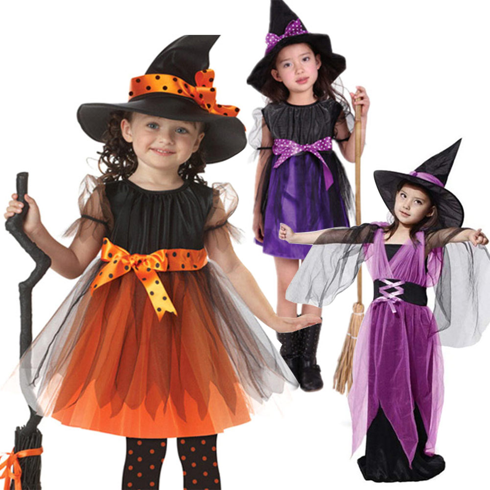 Kids Children Girls Halloween Witch Dress+Hat Children's Day Princess Party Dresses Carnival Cosplay Costume H9