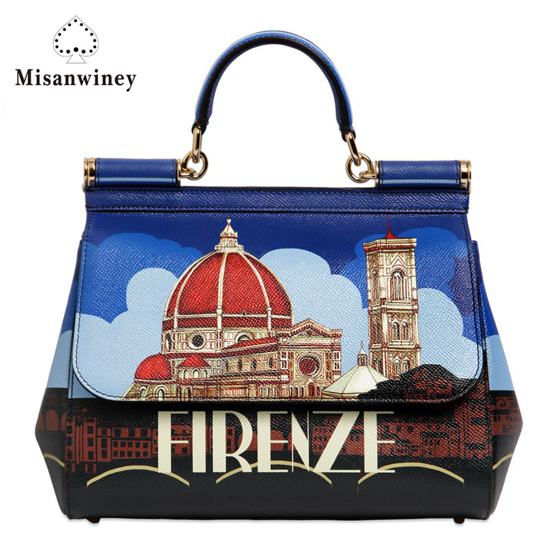 Misanwiney 2017 Women Genuine Leather Handbags Famous Brands Handbag Messenger Small Bags Shoulder Bag  Fashion famous brands top quality women genuine leather bag fashion women handbags shoulder bag rivets owl pattern messenger bags
