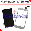 Branco 100% Novo DIsplay LCD + Touch Screen Substituição Digitador Para zte blade l2 plus/lâmina l370/lâmina c370 frete grátis