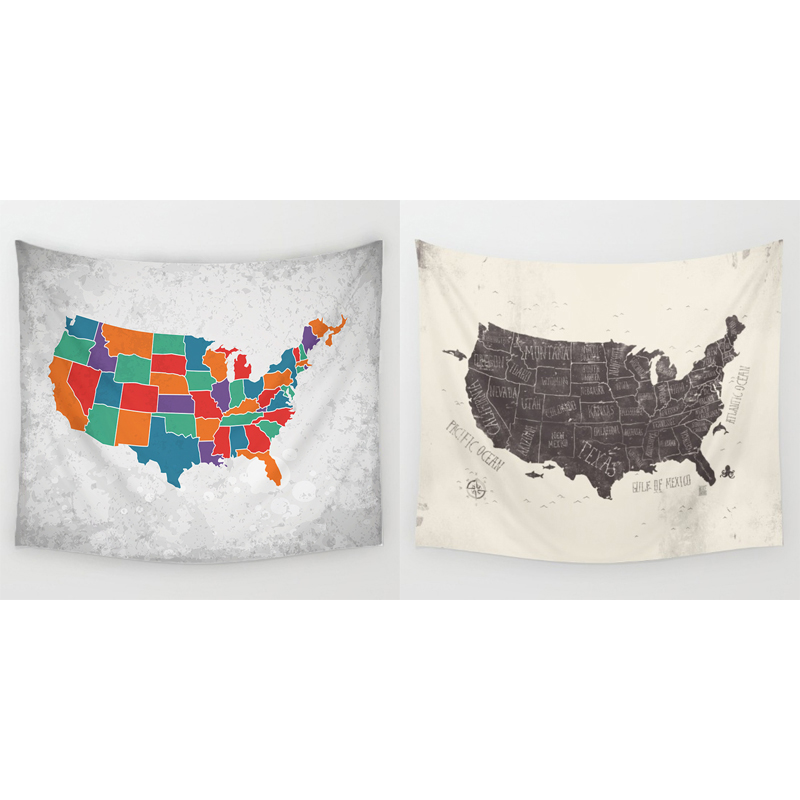 Homing 130x150cm Retro Colorful United States Map Tapestry