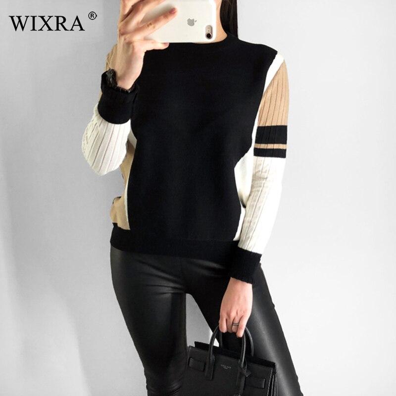 Wixra hiver printemps automne O cou doux pull en tricot pour les femmes à manches longues pulls chandails femmes vêtements