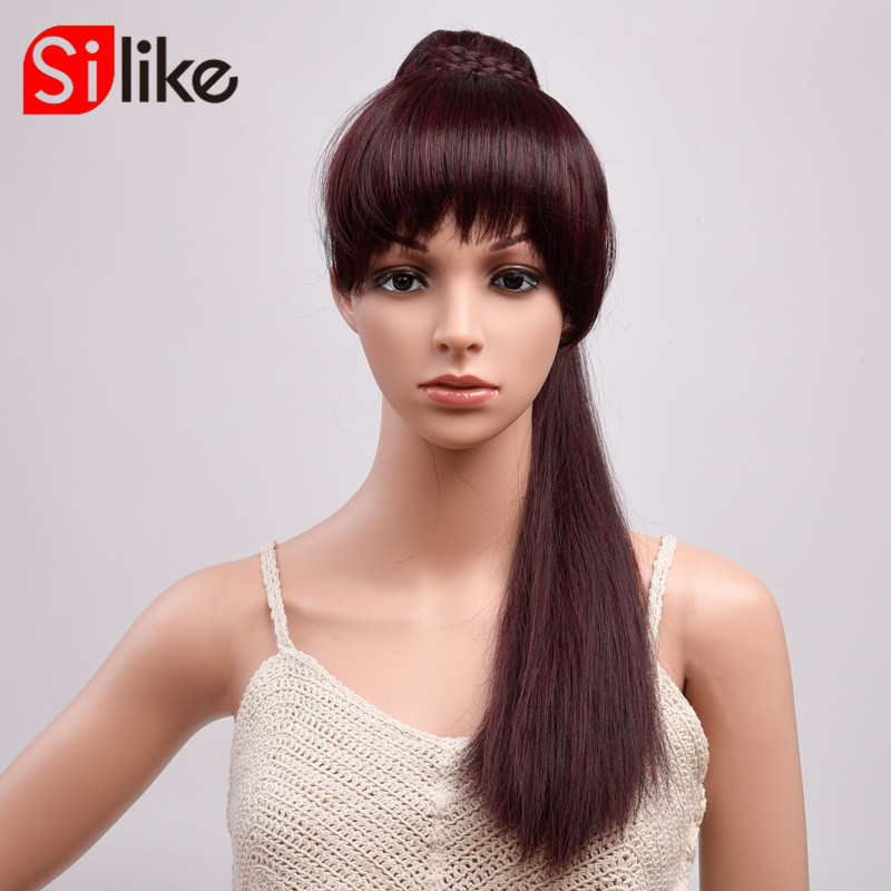 "Silike Long Straight Ponytail With Bangs 22"" 150g Ponytail Hairpiece With Hairpins Synthetic Hair Pony Tail Hair Extension(China)"