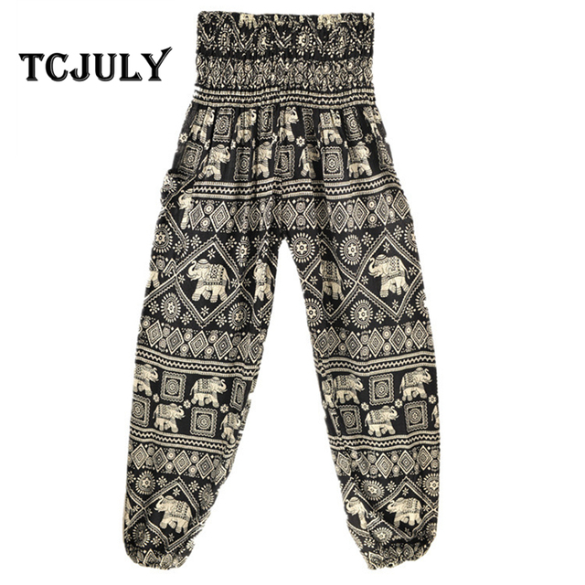 3c9137b7db4 TCJULY New Thailand Design Bourette Bloomers Palazzo Pants Loose Casual  High Waist Drawstring Elephant Printed Baggy