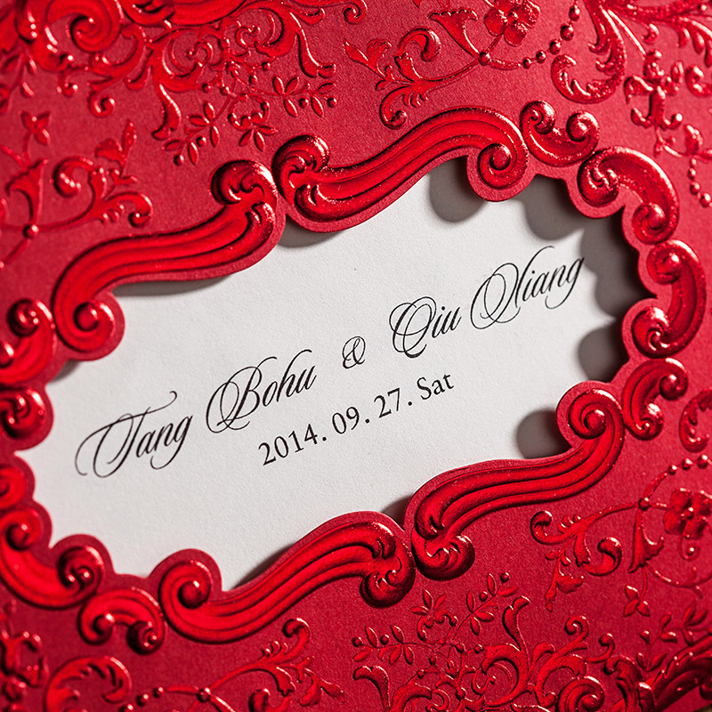 Chinese Red Wedding Invitation Cards, Embossing decorative pattern ...