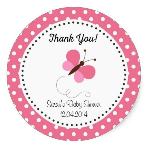 38Cm Cute Butterfly Baby Shower Sticker Pink-In Stickers -4561