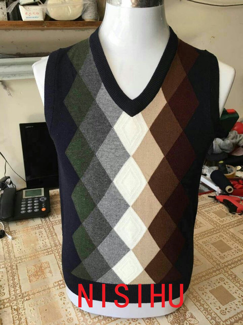 High quality mens autumn patchwork colors argyle sweater vest fashion plaid male sleeveless cashmere sweater