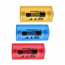 GTF 2800mAh 16340 Battery CR123A 3.7v Red Li-ion Rechargeable For flash light lithium Batteries