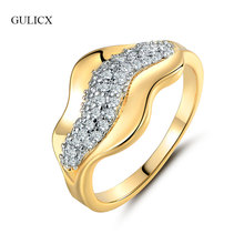 GULICX Luxury Infinity Rings for Women Fashion Design Lip Gold Color Rings For Wedding Crystal Cubic Zirconia Jewelry GLR241