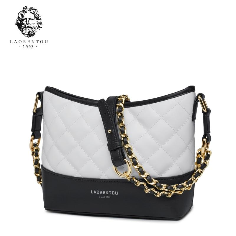 LAORENTOU Women Shoulder Bag Lingge Chain Split Leather Purse Fashion Lady Hobos Chains Crossbody Bag for