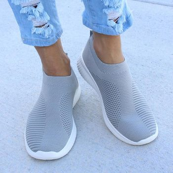 Sneaksrs women shoes 2019 fashion knitting breathable walking shoes slip on flat shoes comfortable casual shoes woman plus size