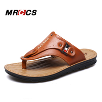 MRCCS Genuine Leather Soft Massage Sole Male Slippers Flip Flops Casual Beach Shoes Men's Leather Flip Flop Outside Cool Summer